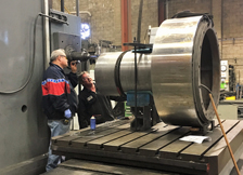 Removing Studs in Large Pressure Relief Valve in Horizontal Boring Mill